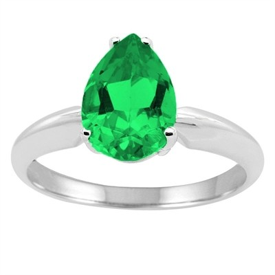 0.44Ct Pear Emerald Solitaire Ring in 14k Gold