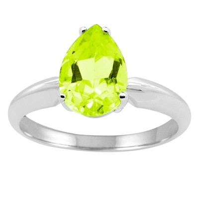 0.75Ct Pear Peridot Solitaire Ring in 14k Gold