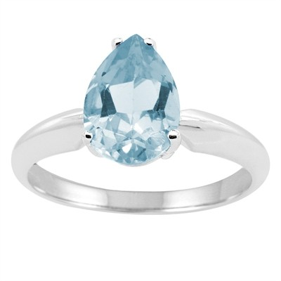 0.55Ct Pear Aquamarine Solitaire Ring in 14k Gold
