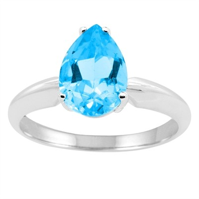 1.25Ct Pear Blue Topaz Solitaire Ring in 14k Gold