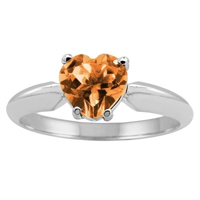 1.00Ct Heart Citrine Solitaire Ring in 14k Gold
