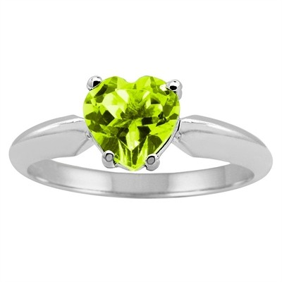0.45Ct Heart Peridot Solitaire Ring in 14k Gold