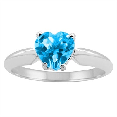 0.80Ct Heart Blue Topaz Solitaire Ring in 14k Gold