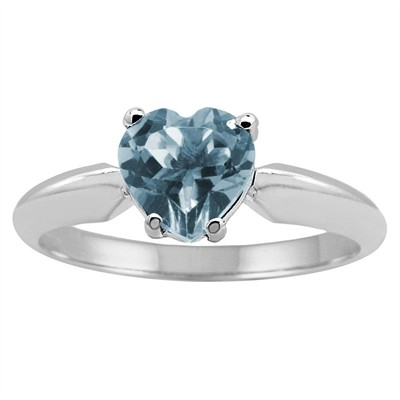 0.80Ct Heart Aquamarine Solitaire Ring in 14k Gold