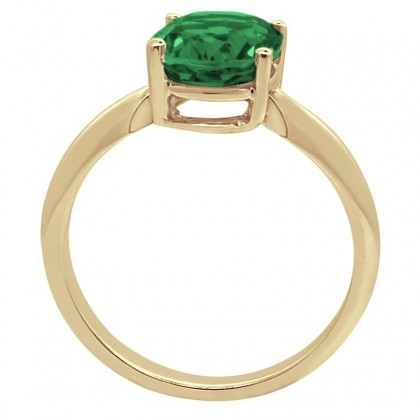 0.44Ct Oval Emerald Solitaire Ring in 14k Gold