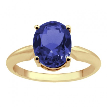 0.43Ct Oval Tanzanite Solitaire Ring in 14k Gold