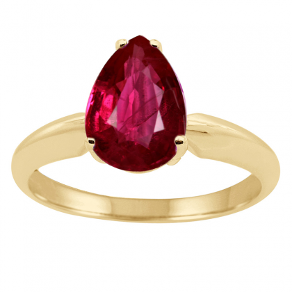 1.22Ct Pear Ruby Solitaire Ring in 14k Gold
