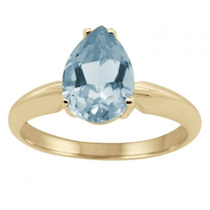 1.86Ct Pear Aquamarine Solitaire Ring in 14k Gold