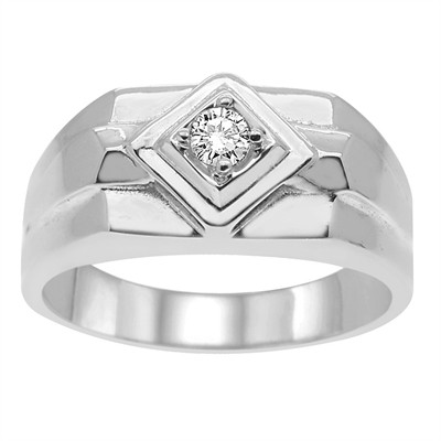 Men's Prong Set Diamond Ring in10k Gold (I-J, I1-I2)