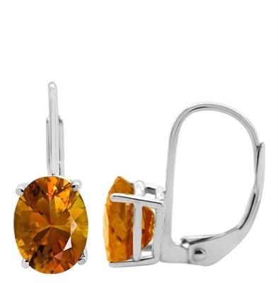 Oval Leverback Citrine Earrings in 14k Gold