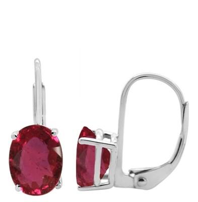 Oval Leverback Ruby Earrings in 14k Gold