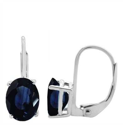 Oval Leverback Sapphire Earrings in 14k Gold