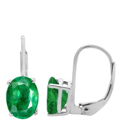 Oval Leverback Emerald Earrings in 14k Gold