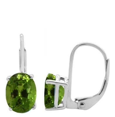 Oval Leverback Peridot Earrings in 14k Gold