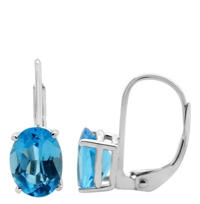 Oval Leverback Blue Topaz Earrings in 14k Gold
