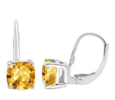 Cushion Cut Leverback Citrine Earrings in 14k Gold