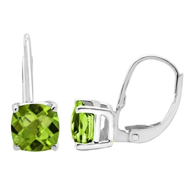 Cushion Cut Leverback Peridot Earrings in 14k Gold