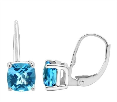 Cushion Cut Leverback Blue Topaz Earrings in 14k Gold