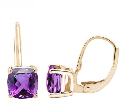 Cushion Cut Leverback Amethyst Earrings in 14k Gold