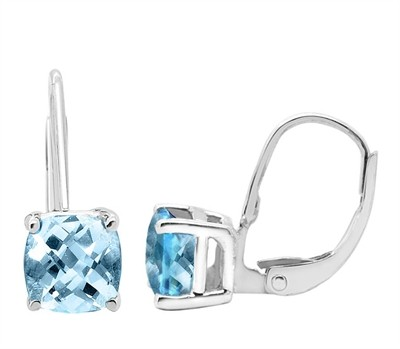 Cushion Cut Leverback Aquamarine Earrings in 14k Gold
