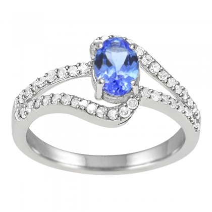 Oval Tanzanite and Diamond Ring in 10K White Gold