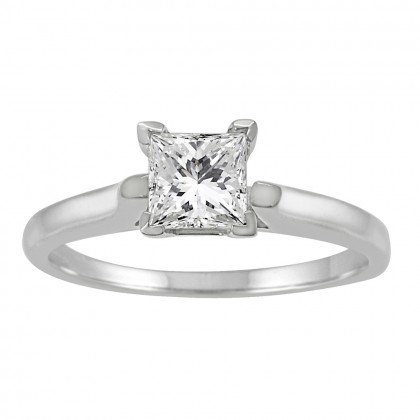 0.50CT Princess Cut Diamond Solitaire Engagement Ring in 14k White Gold