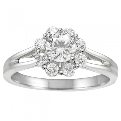 1.00CT Flower Shape Diamond  Engagement Ring in 14k White Gold