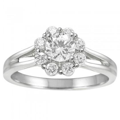 1.00CT Flower Shape Diamond  Engagement Ring in 14k White Gold