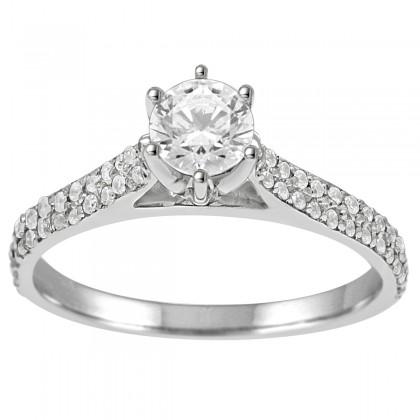 0.75 CT Diamond Engagement Ring in 14K White Gold