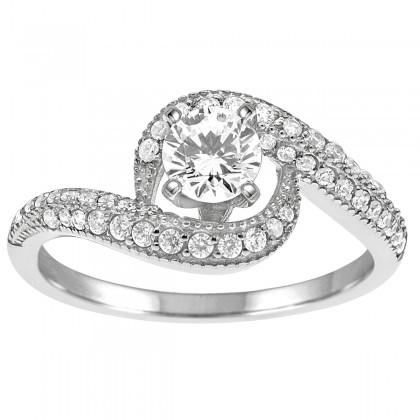 1.00CT Diamond Engagement Ring in 10K White Gold