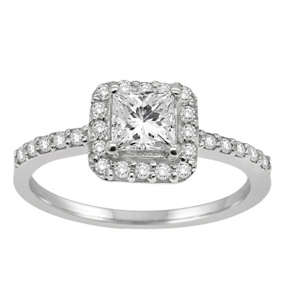 1.00CT Diamond Halo Ring in 14k White Gold