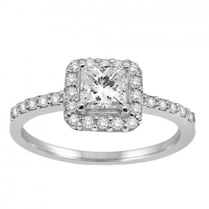 1.00CT Diamond Halo Ring in 14k White Gold