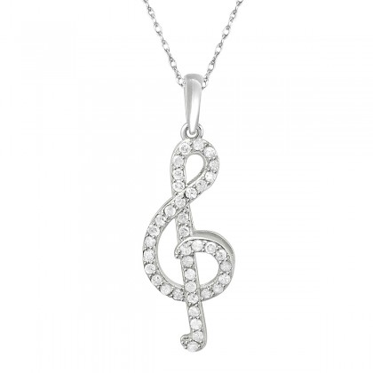 0.40CT Diamond Musical Note Pendant in 10k White Gold