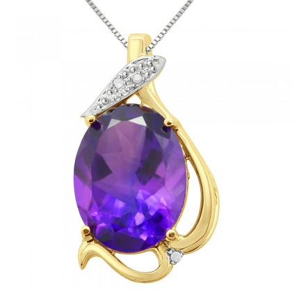 Round Shaped Amethyst Pendant in .925 Sterling Silver