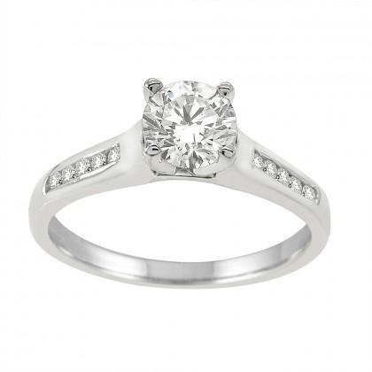 1.00CT Diamond Engagement Ring in 14k White Gold
