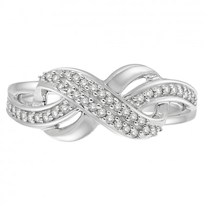0.20CT Diamond Twist Ring in 925 Sterling Silver