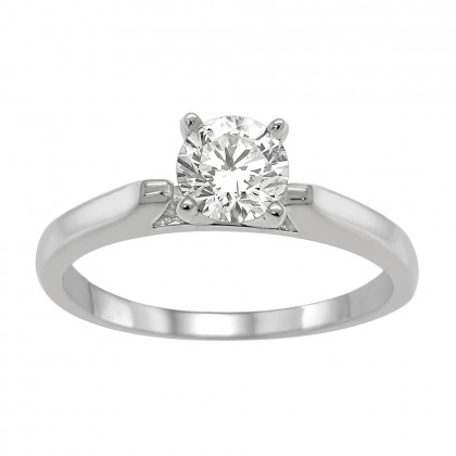 0.50CT Round Diamond Solitaire Engagement Ring in 14k White Gold