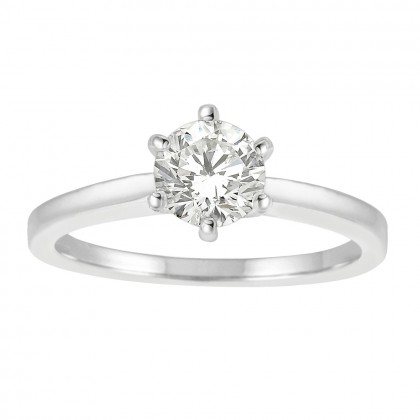 1.00CT Diamond Solitaire Engagement Ring in 14k White Gold