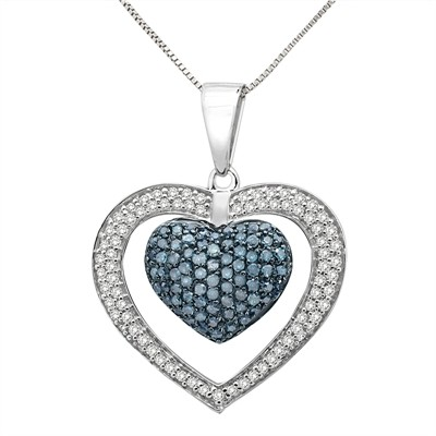 Aonejewelry best value source for gemstone and diamond jewelry 1 ct blue and white diamond heart pendant in sterling silver mozeypictures Choice Image