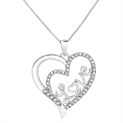 Aonejewelry best value source for gemstone and diamond jewelry 110ct white diamond love heart pendant in sterling silver mozeypictures Images
