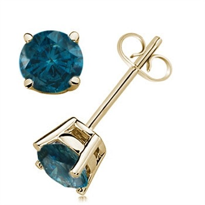 1.00 CTW Round Blue Diamond Solitaire Stud Earrings in 14K Yellow Gold