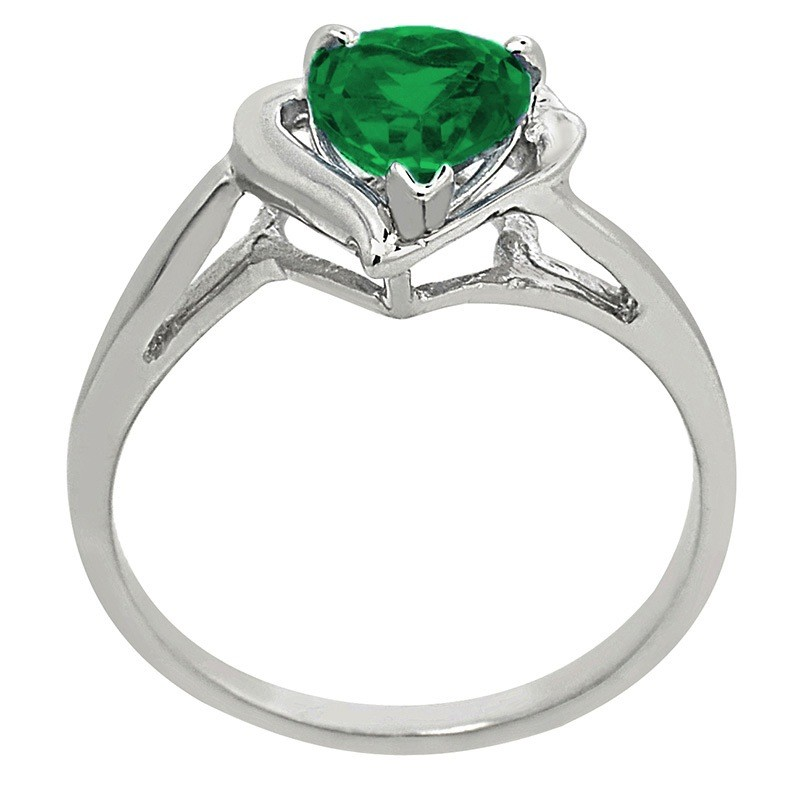silver emerald shaped sterling ring p created accent stone diamond heart lab