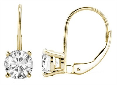 0 10 Ctw Round Diamond Leverback Earrings In 14k Yellow Gold